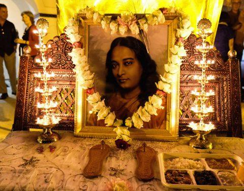 Paramahansa Yogananda's Picture with Prasad on India Night 2015