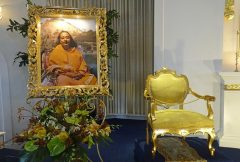 Paramahansa Yogananda's Chair next to his picture in the main Temple Sanctuary
