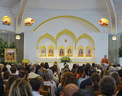 Lake Shrine Temple Sanctuary at a Sunday Service with Brother Satyananda playing the harmonium